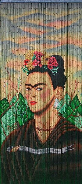 Bamboo Beaded Curtain Hand Painted Frida Kahlo