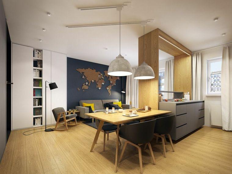 Soggiorno Moderno Con Tavolo In Legno.Accogliente E Funzionale Open Space Cucina Soggiorno Moderno Con