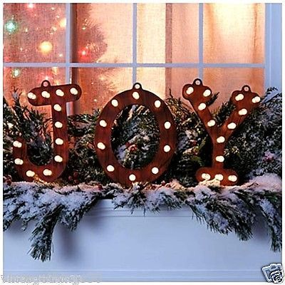 Rustic lighted joy marquee sign indoor outdoor christmas for Indoor marquee decoration