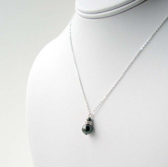 Black Pearl Necklace with Sterling Silver Chain by LRichardsDesign
