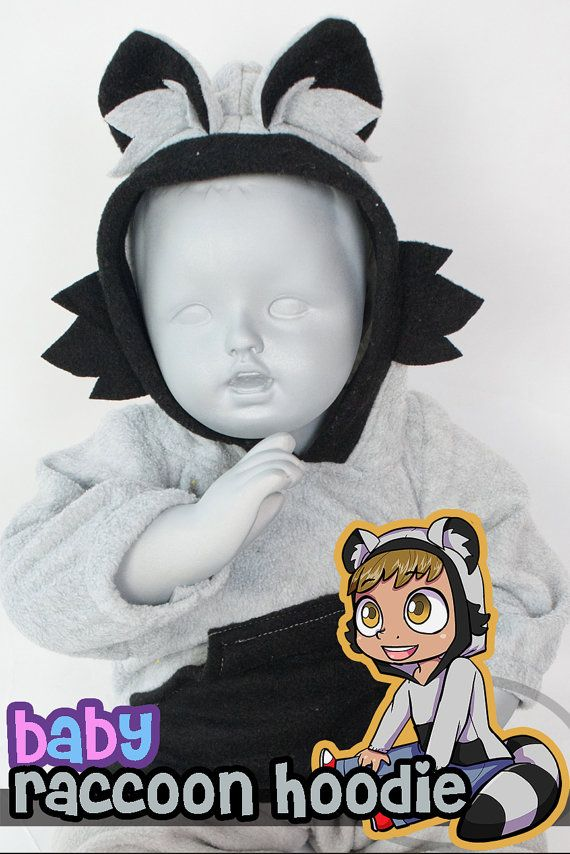 BABY  TODDLER Raccoon Hoodie 3 Month to 18 Month by lemonbrat - 18 month halloween costume ideas