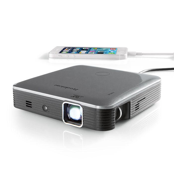 40854d804eccb6 Brookstone Pocket Projector Pro with DLP® IntelliBright™ Technology—200  Lumens