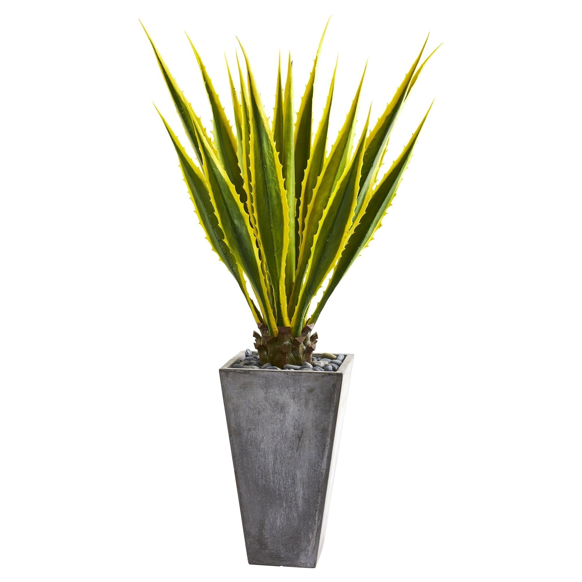Nearly Natural 5 Foot Agave Artificial Plant In Grey Planter Gray Artificial Plants Agave Plant Silk Plants