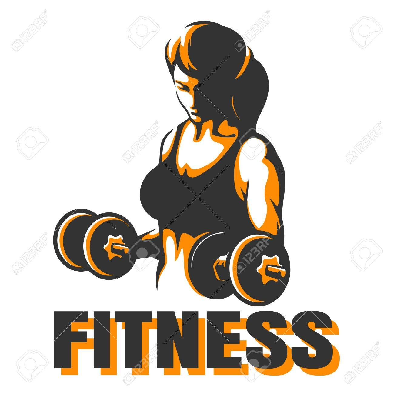 Bodybuilder Club or Fitness Emblem. Athletic Woman Holding Weight. Vector illustration Illustration...