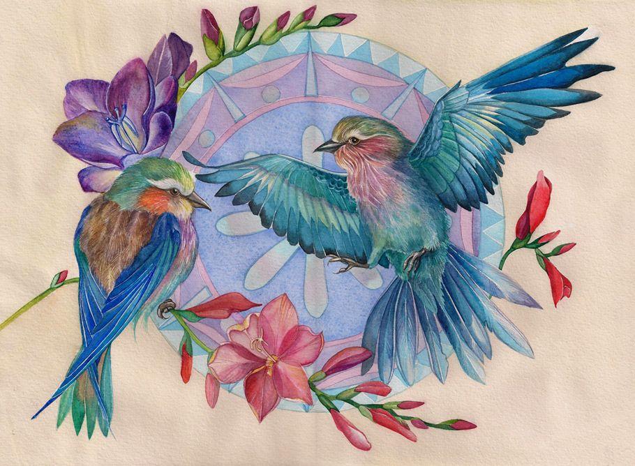 возрасте рисунки красивых птиц на цветах плуга йоге