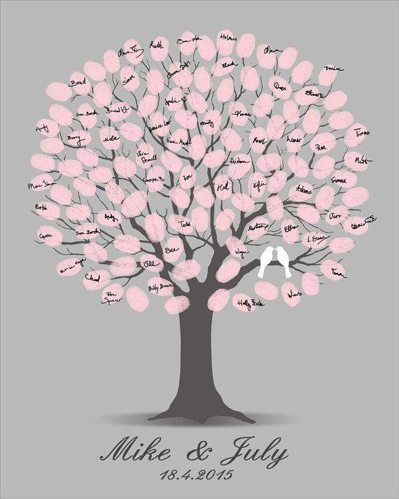 Wedding Guest Book Tree Printable Jpeg Alternate Guestbook Digital Fingerprint Thumbprint Spring Customizable