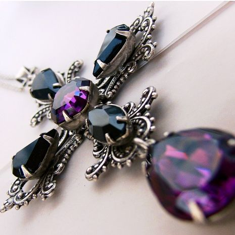 Gothic Cross Pendant with Purple and Black Swarovski