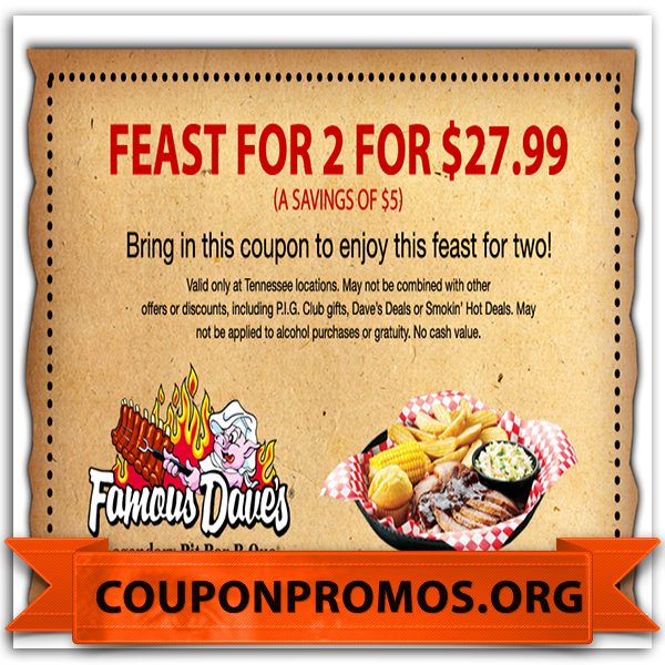 image about Famous Dave's Printable Coupons titled printable coupon for popular daves for March Discount codes 2015