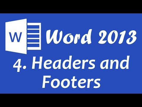 Microsoft Word 2013 - Headers and Footers tutorial - YouTube