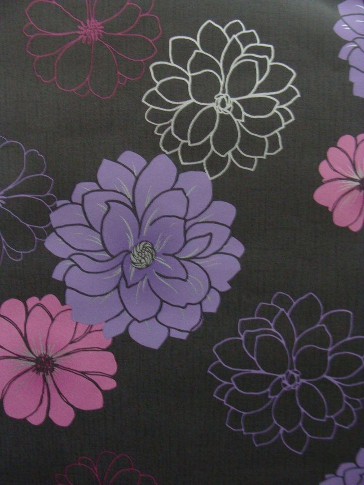 Vinyl Coated Wallpaper Retro Modern Floral Charcoal Pink Purple Modern Floral Retro Modern Wallpaper