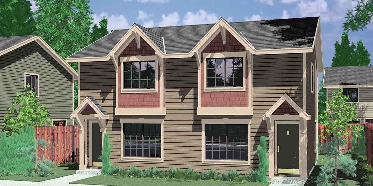 House front color elevation view for D-406 Duplex house plans, narrow lot duplex house plans, craftsman duplex house plans, small duplex house plans, D-406