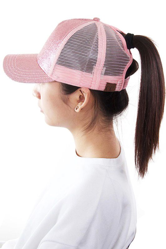 90646253257d5 Glitter and Mesh Ponytail Baseball Hat by CC Brand
