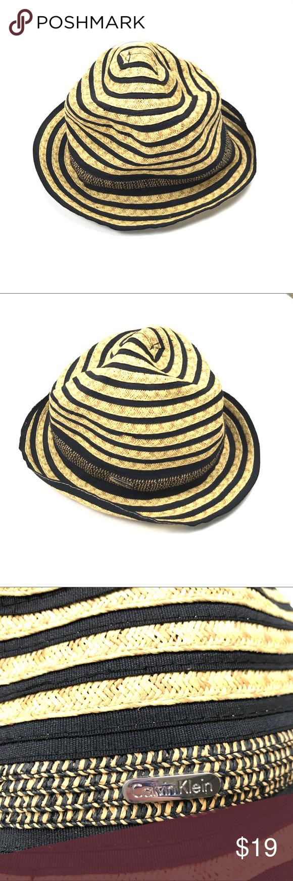 53da414319f Calvin Klein Straw Hat Tan Black Striped Fedora Calvin Klein Straw ...