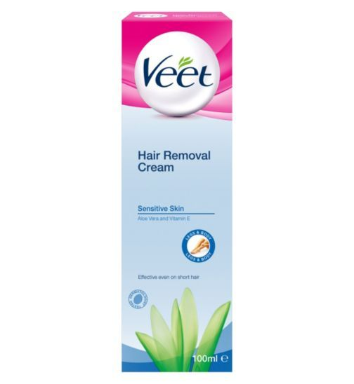 Veet Hair Removal Cream With Aloe Vera And Vitamin E For Sensitive Skin 100ml Hair Removal Cream Sensitive Skin Cream Hair Removal