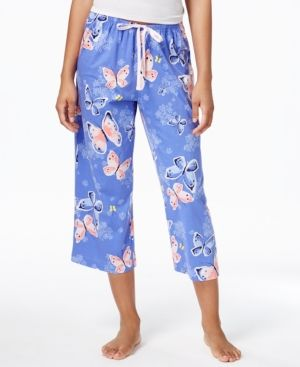 ccfda2e3fd97 Hue Printed Cotton Knit Capri Pajama Pants - Blue XL | Products ...