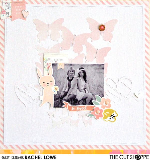 """The Cut Shoppe: Layout by Guest Designer Rachel Lowe uses the """"Spread Your Wings"""" and """"Borderlines"""" cut files."""