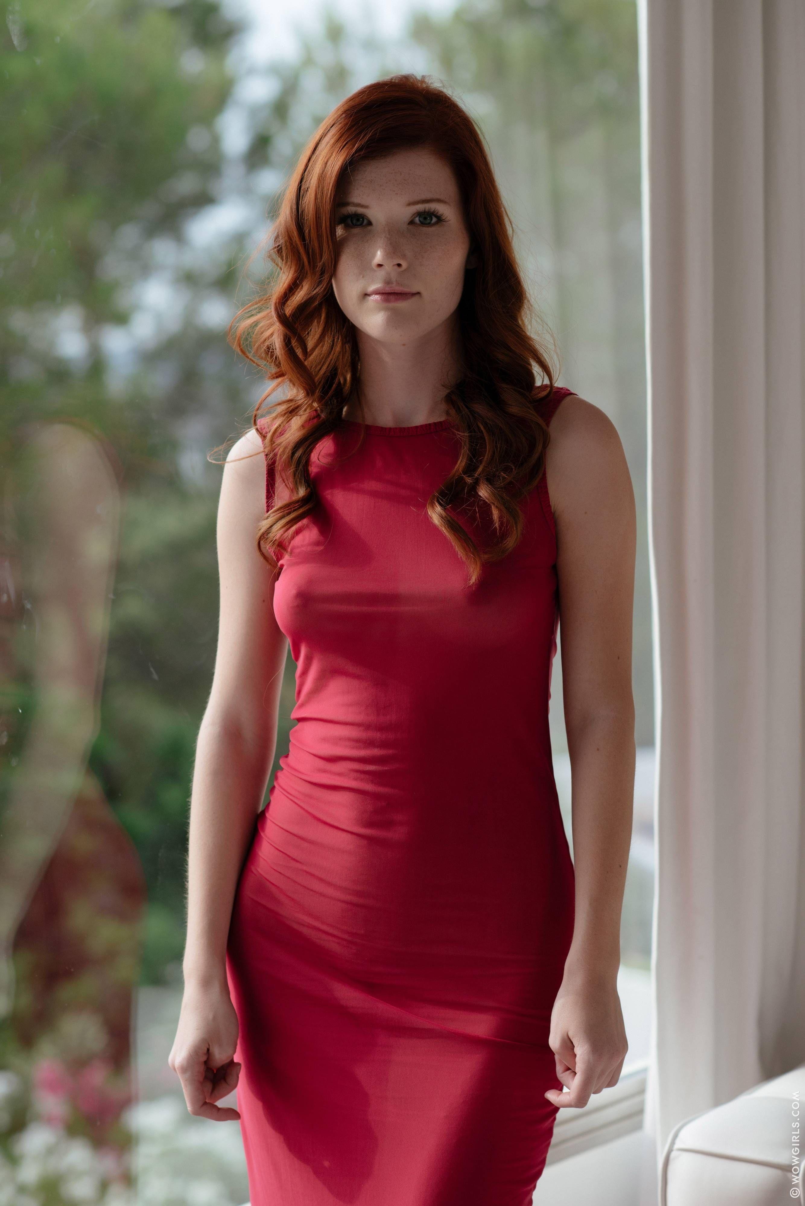Evening dress heels redhead
