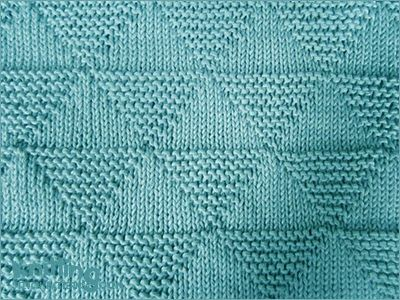 Combination of knit and purl stitches. Easy to knit pattern with stockinette and garter triangles, perfect for any reversible project.