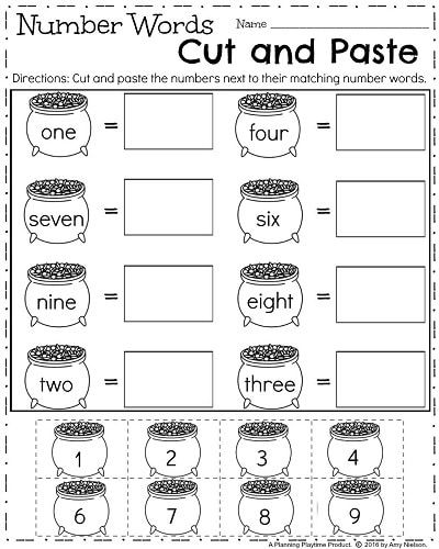 Cut And Paste Number Worksheets For Kindergarten