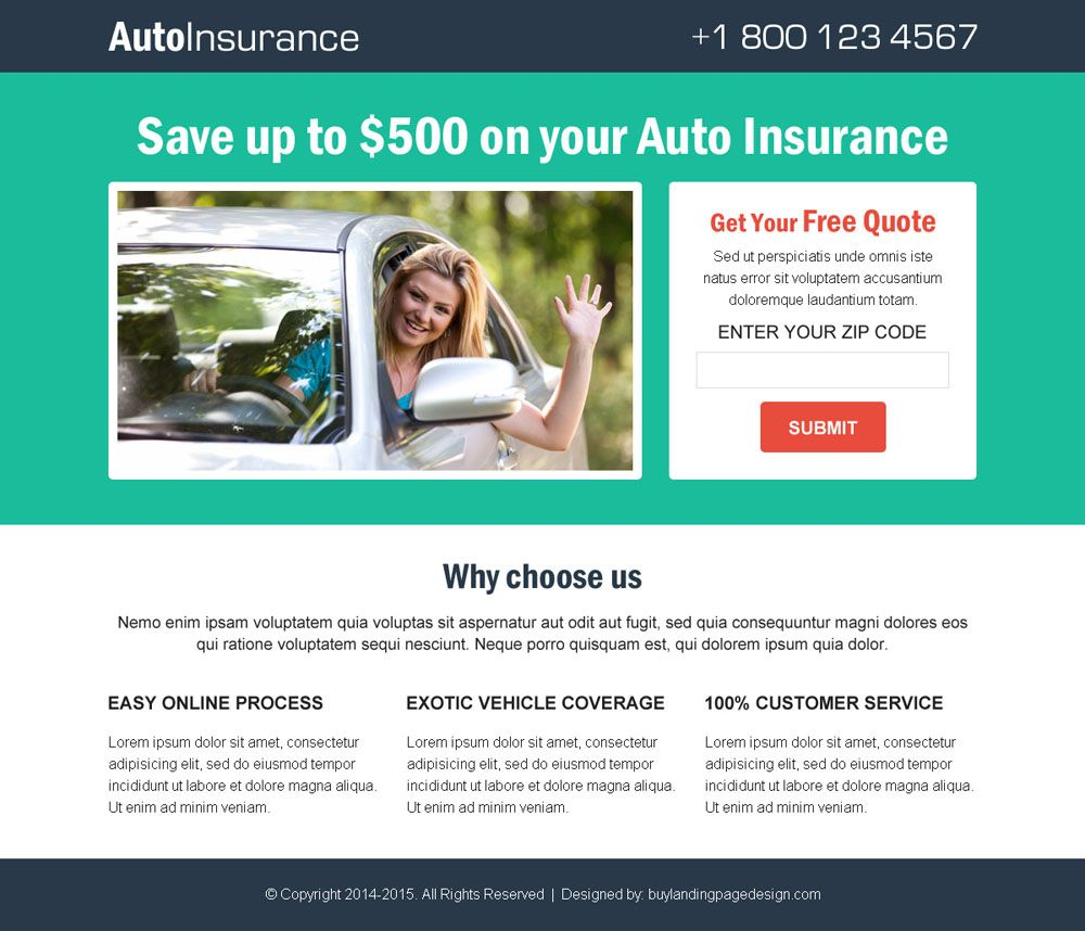 Auto Insurance Free Quote Clean And Simple Lead Gen Responsive