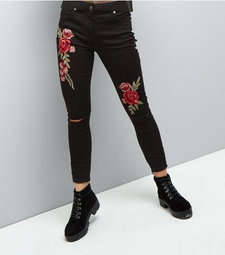 Black floral skinny jeans