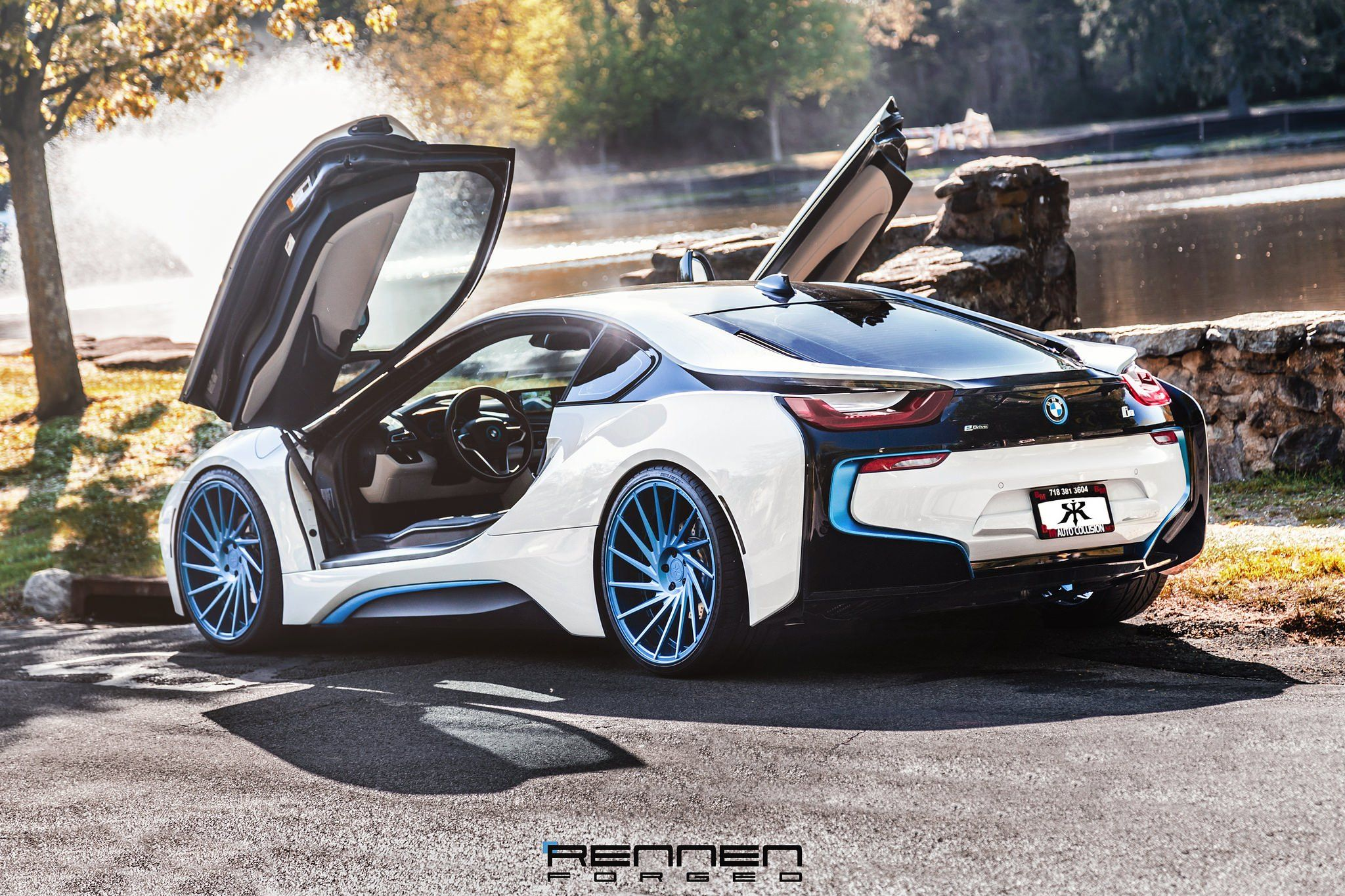 Revolutionary Machine White Bmw I8 On Blue Forged Rennen Wheels Bmw I8 Bmw Super Sport Cars