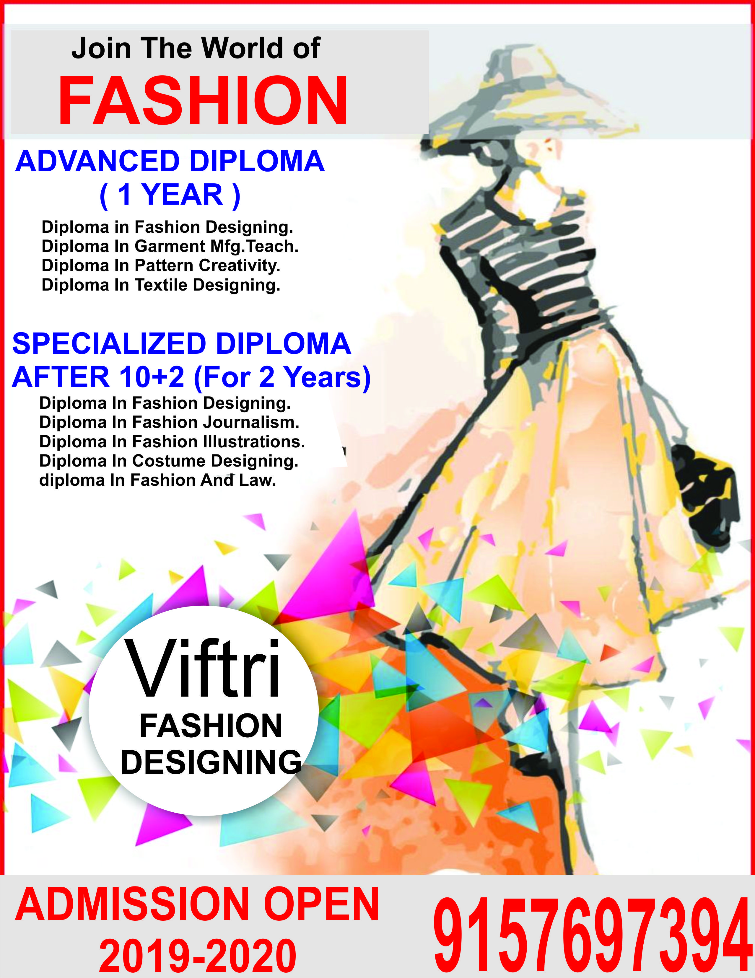 Vedansh Institute Of Fashion Technology Research Institute Viftandri Admission Open Fashion Designing Course Diploma In Fashion Designing Technology Fashion