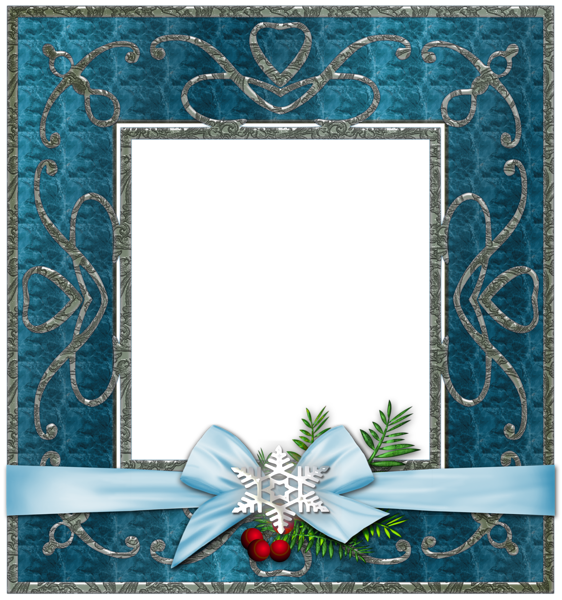 Blue Transparent Christmas Photo Frame