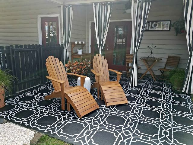 contempo trellis wall stencil painted concrete porch concrete