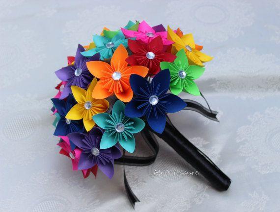 Mazzo Di Fiori Origami.Paper Flower Bouquet Origami Bouquet Kusudama Bouquet Paper