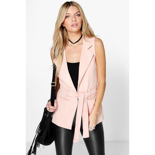 f472f8785 Boohoo Lola Sleeveless Belted Blazer ($26) ❤ liked on Polyvore featuring  outerwear, jackets, blazers, nude, pink duster coat, belted puffer jacket,  ...