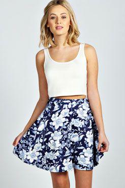 6ddbdfdcd5 Sandra Navy Floral Scuba Skater Skirt | Fashion | Floral skater ...