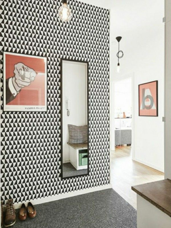 d coration couloir 25 id es g niales d couvrir papier peint graphique couloir et la deco. Black Bedroom Furniture Sets. Home Design Ideas