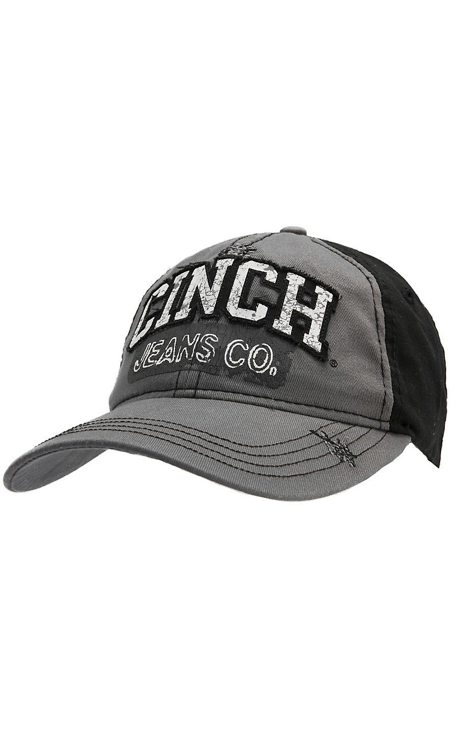 Cinch® Grey with Embroidered Logo Flex Fit Cap Hats for