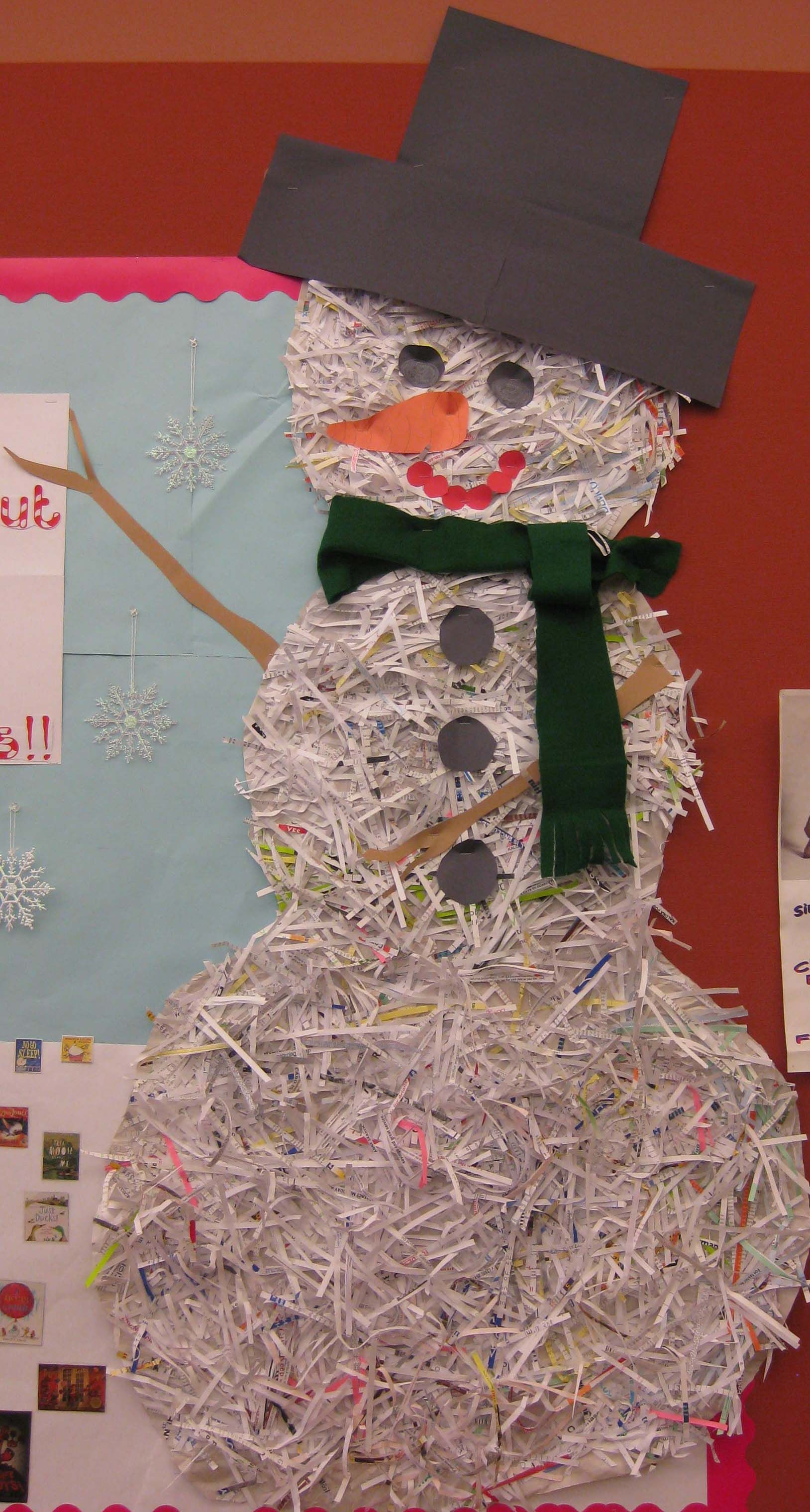Made With Shredded Paper Recycled Glued On To Paper Snowman Shape