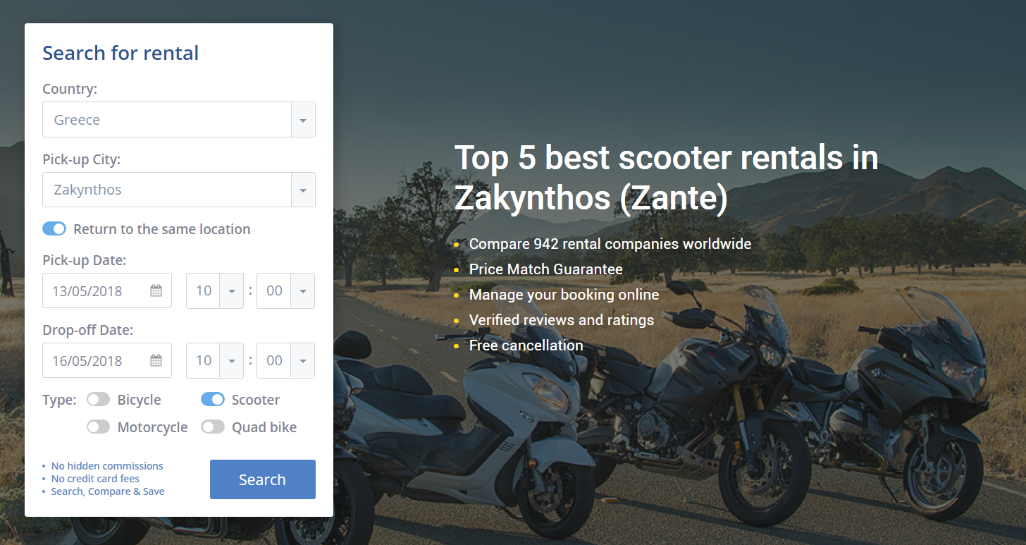 Top 5 Best Scooter Rentals In Zakynthos Zante Online Booking