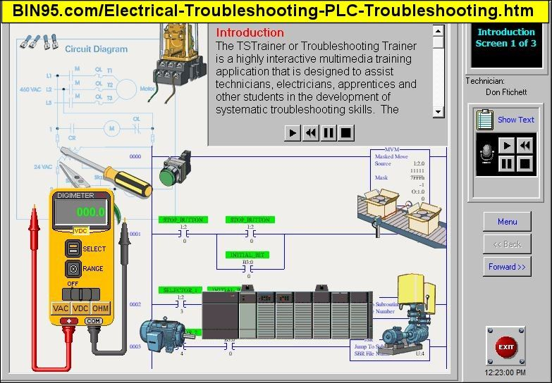 the plc troubleshooting training with plc maintenance  the electrical  problems start with basic electrical wiring, move up to plc examples