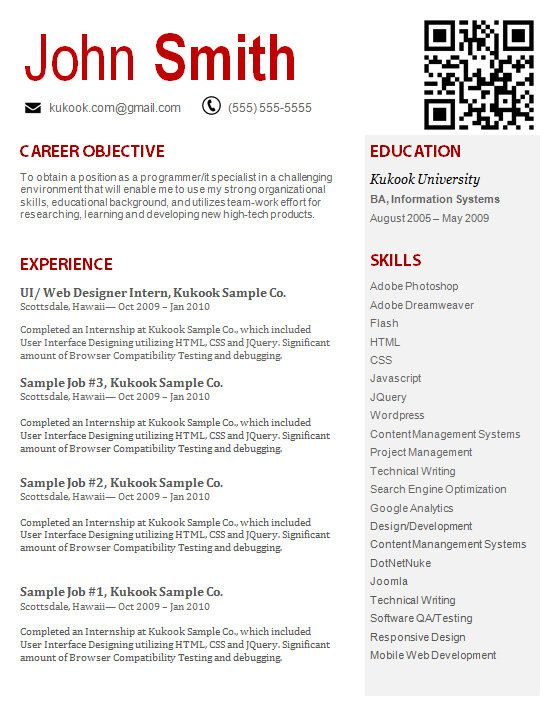Resume 8 - Modern and Creative Resume Template with QR Code - web services testing resume