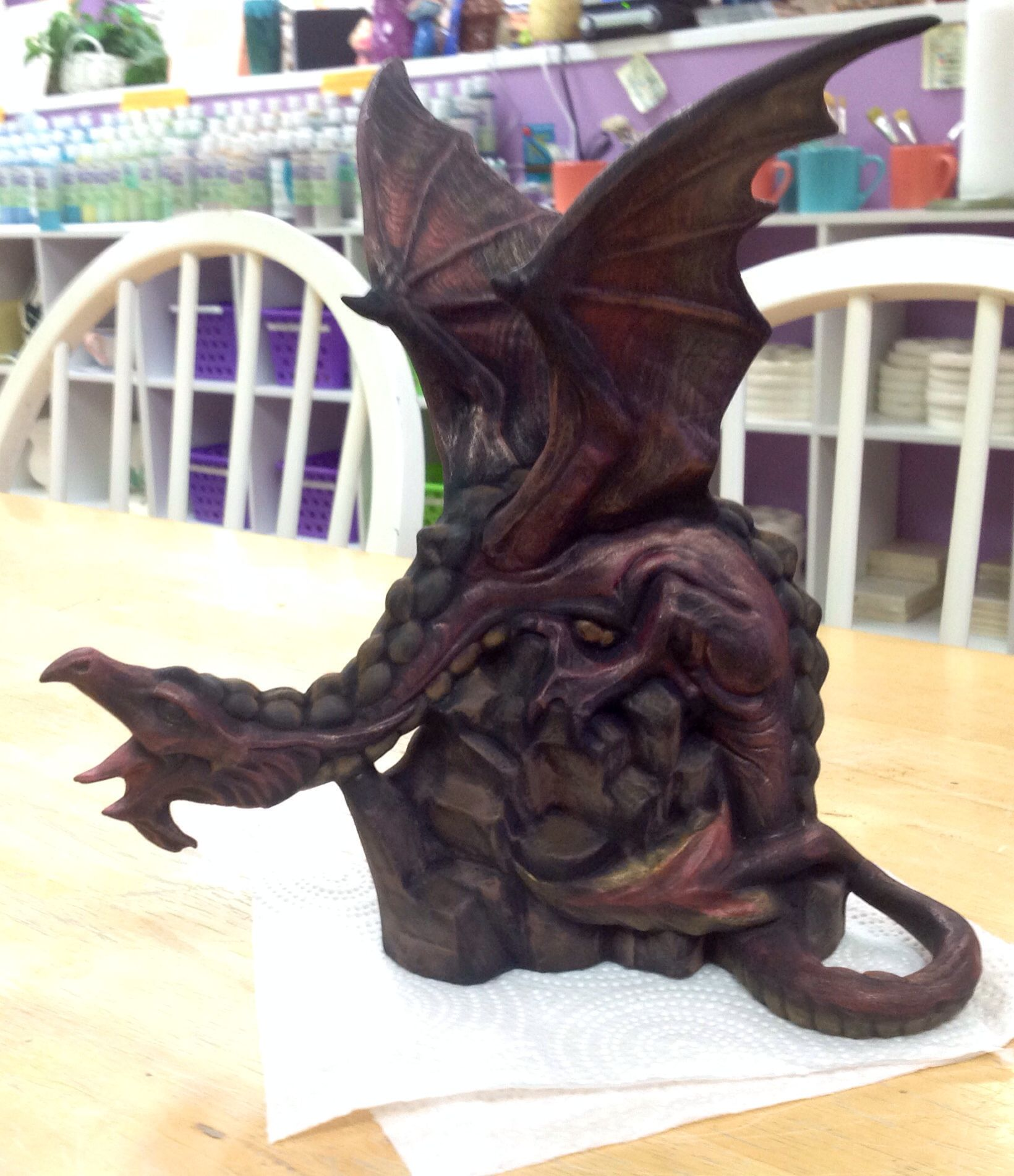This is a dragon I dry brushed with acrylic  I did not