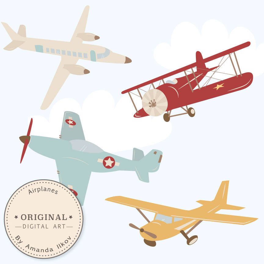 Professional Airplane Clipart Airlplane Vectors Airplane Etsy Airplane Theme Clip Art Vintage Airplanes
