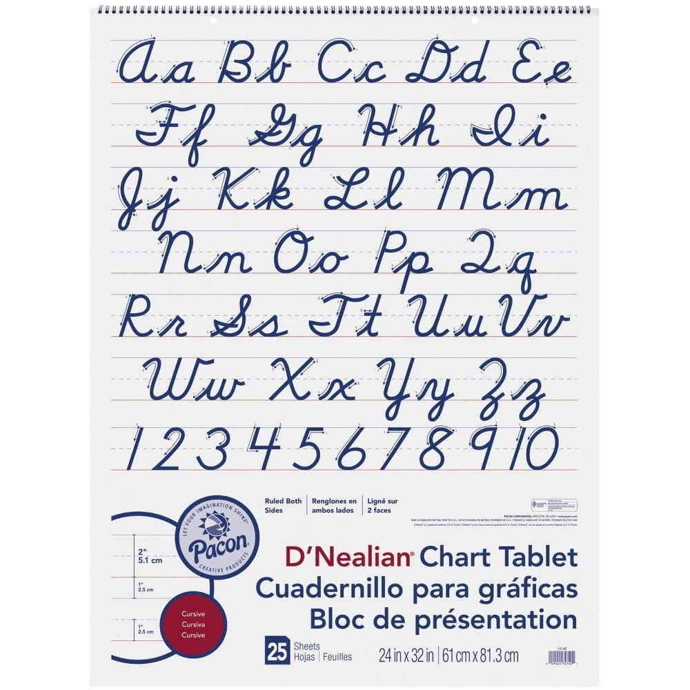 Pacon D Nealian Cursive Chart Tablet 24 X 32 Inches 2 Inch Ruled 25 Sheets White Lettering Learn Handwriting Cursive Chart