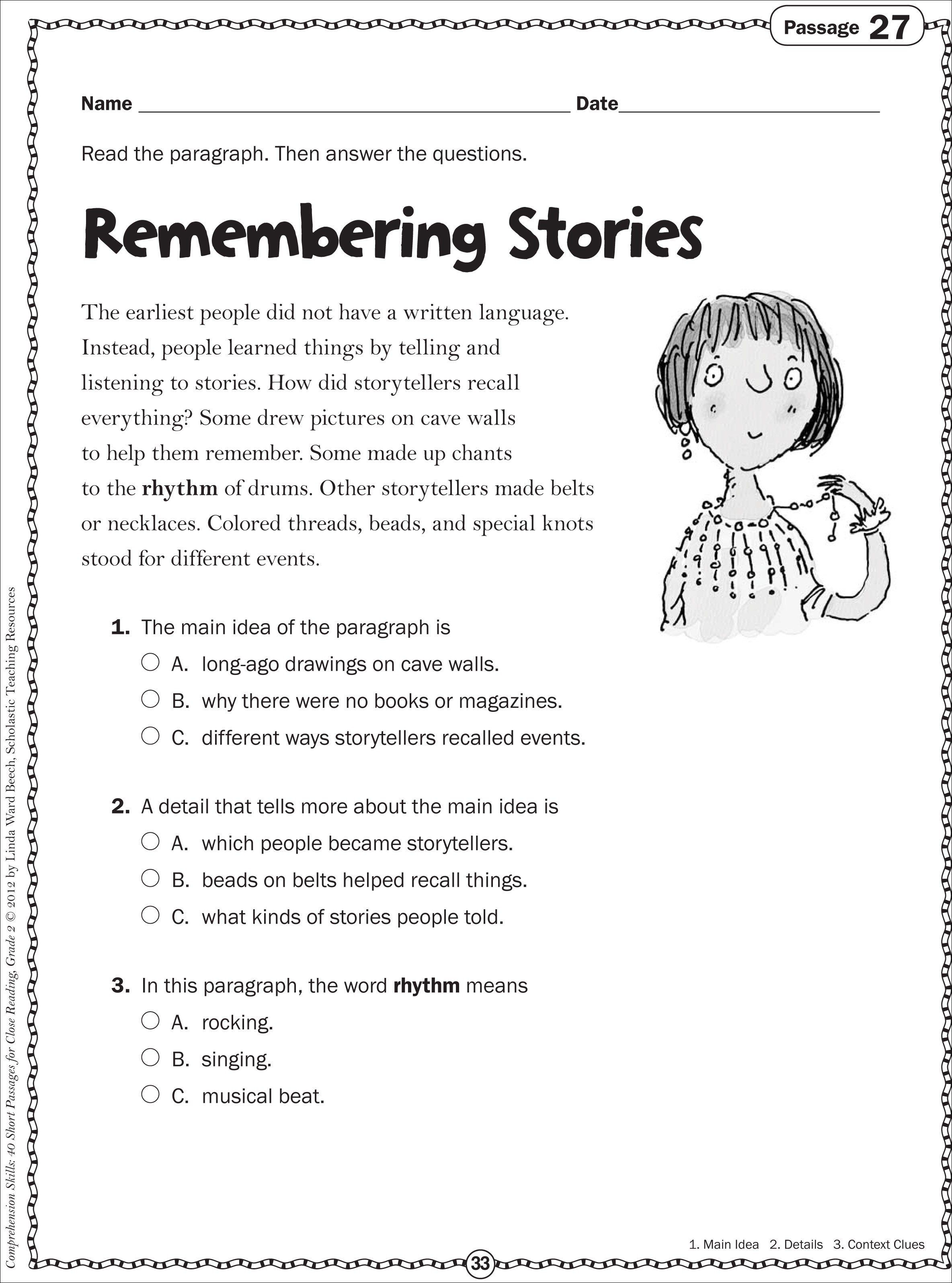 Main Idea First Grade Worksheets In With Images
