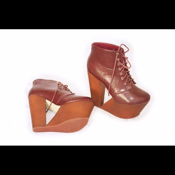 Make Me Chic Cut Out Wedge Boots Wine Red 8 Awesome burgundy colored wedge boots from MMC. Worn only for styling, basically like new, no box. Size 8. Make Me Chic Shoes Lace Up Boots