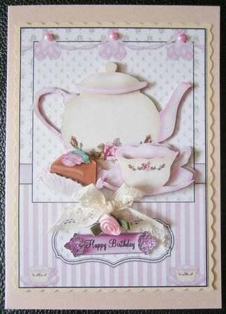 Card Gallery Afternoon Tea Card Front And Decoupage With Images