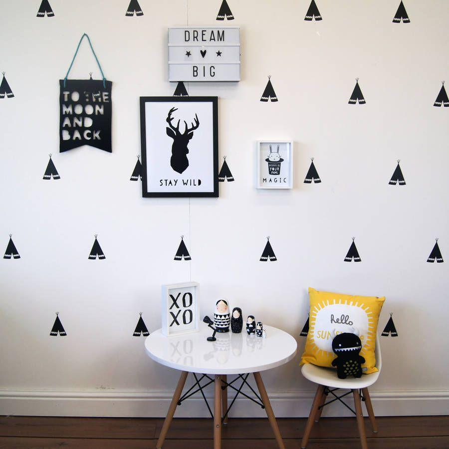monochrome teepee wall stickers blank walls wall sticker and monochrome teepee wall stickers