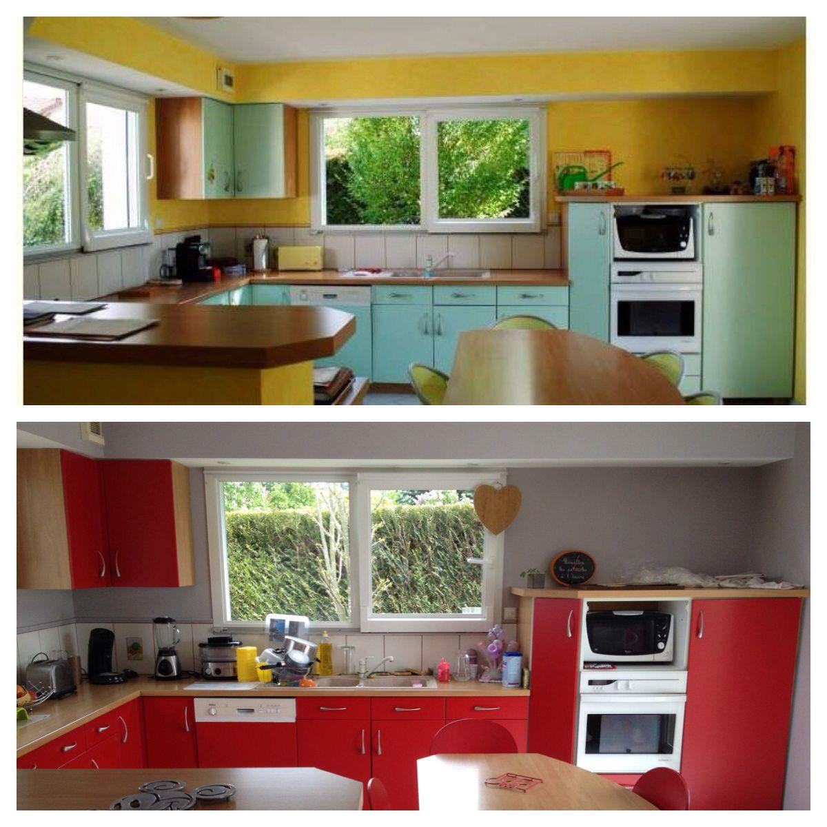 Cuisine rouge bois gris - avant/après - résinence color - red