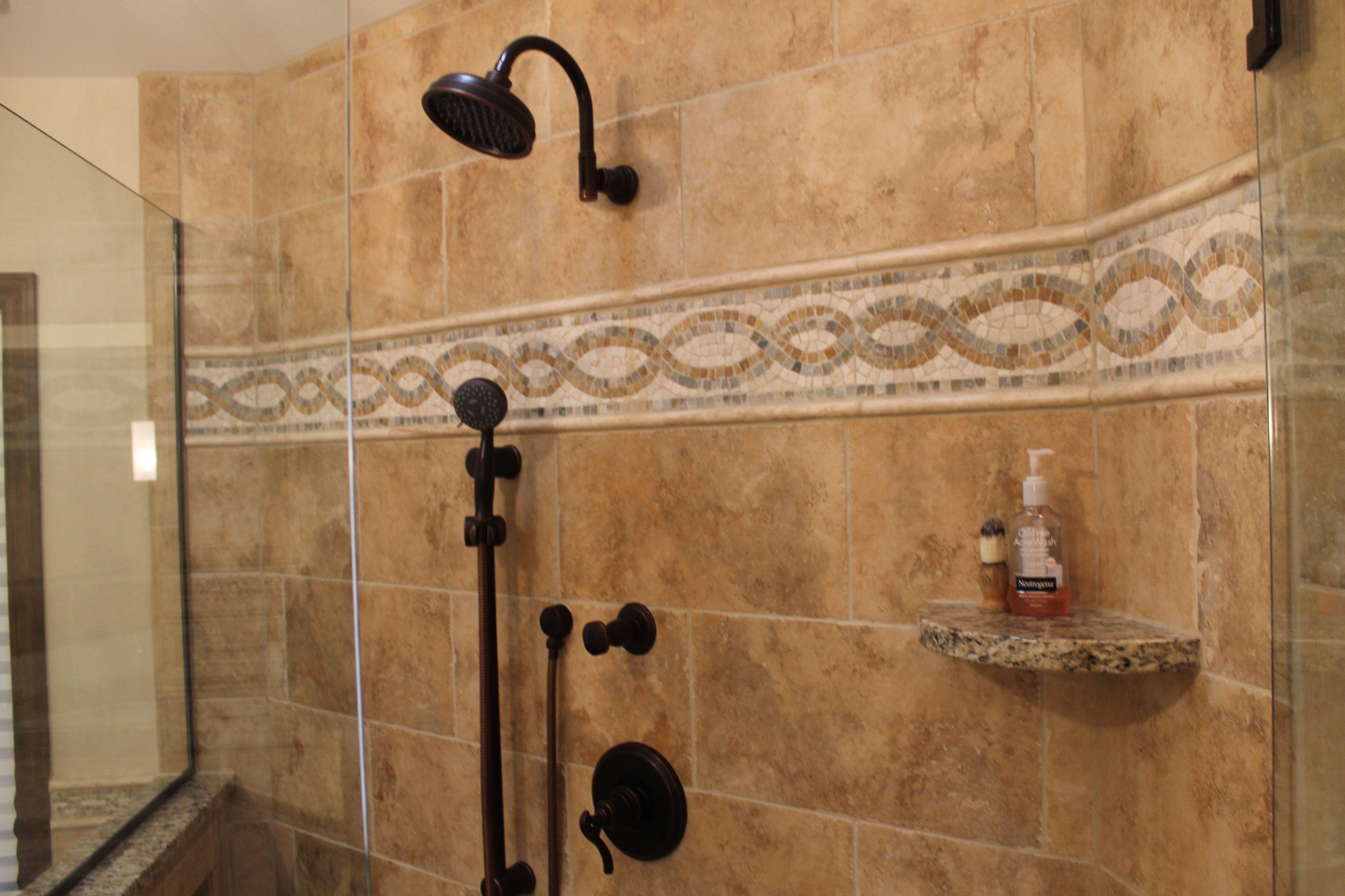 Roman Bronze Fixtures in Custom Tiled shower with Tile Accent ...