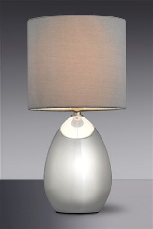 Bedrooms · Grey Droplet Chrome Touch Lamp