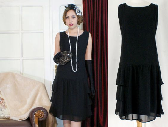 Take a simple black dress add pearls great gatsby inspired stylish flapper costume in black with ruffles on skirt sides great gatsby dress flapper dress little black dress robe charleston solutioingenieria Gallery