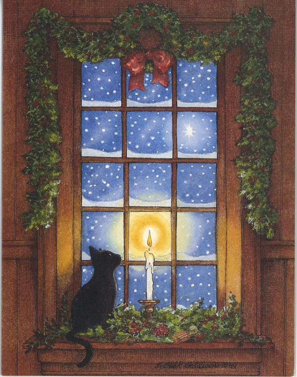Открытки с зимними окнами, открытка